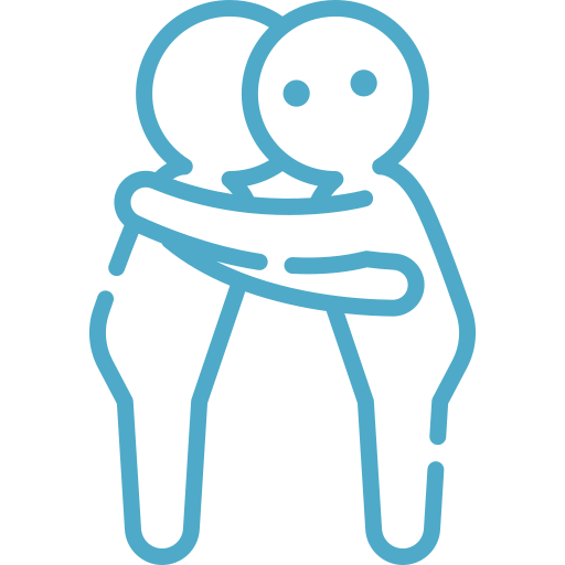 Icon of two figures hugging